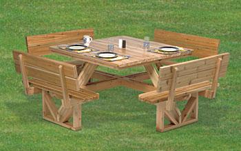 Wooden square picnic table plans woodideas - Plan construction table de picnic ...