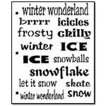 Stencil - Winter Words Medium/Small