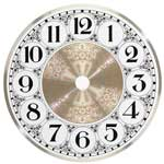 Metal Clock Dial - White & Brass - 8