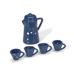 Mini Blue Enamel Coffee Set (6pc) - 1 1/8