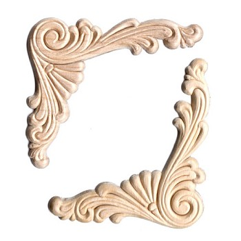 Wood Appliques - Scroll Corner (2pc)