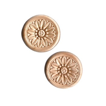 Wood Appliques - Round Flower (2pc)