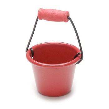"Mini Red Pail with handle - 1"" wide"