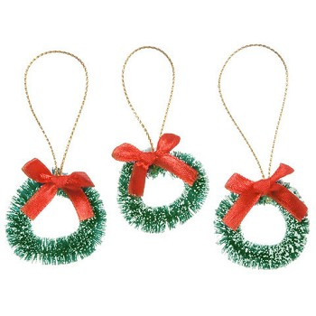 Wreathes with Red Bow (3pc) - 1 1/2""