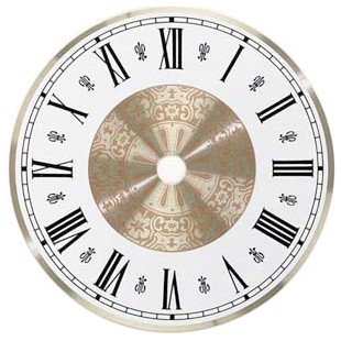 "Metal Clock Dial - White & Brass - 4 1/2"" Roman"
