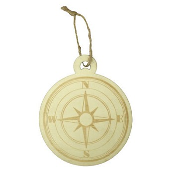 "Wood Compass Ornament - 3 1/2"" wide"