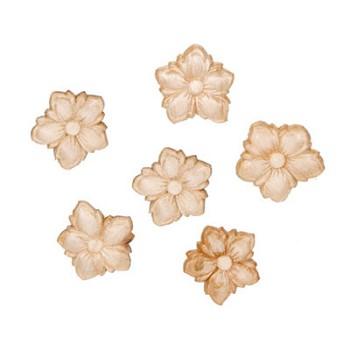 Wood appliques flowers 6pc - Appliques flos ...