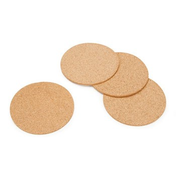 "Cork Coaster 4pc Set - 4"" Round"
