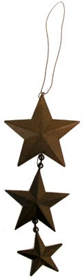"Rustic Vertical Hanging Stars - 6 1/2"" long"