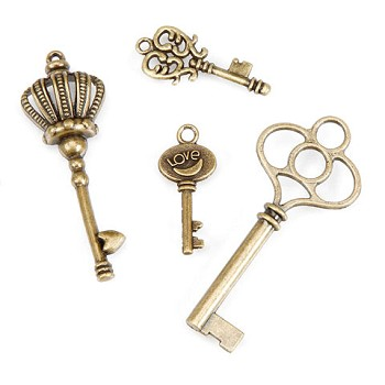 Key Charms - Brass - 4pc
