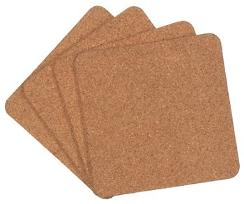 "Cork Coaster 4pc Set - 4"" Square"