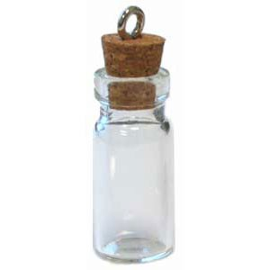 "Small Glass Bottle Charm (2pc) - 1 1/2"" tall"