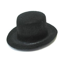 Black Felt Top Hat - 2""