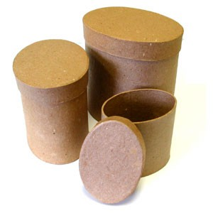 Paper Mache 3pc Tall Oval Box Set