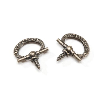 "Ring Hooks - 7/8"" - Antique Gold - 2pc"