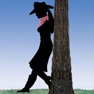 Plan-Leaning Cowgirl Shadow (lifesize)