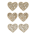 Laser-Cut Wood Shapes - Hearts 6pc