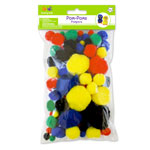 Pom-Poms - Primary Assorted 90pc