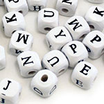 Wood Letter Beads (10mm) - 60pc Assorted White