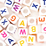 Alphabet Beads (6mm) - 68pc White with Colored Letter
