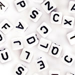 Alphabet Beads (6mm) - 68pc White with Black Letter