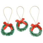 Wreathes with Red Bow (3pc) - 1 1/2