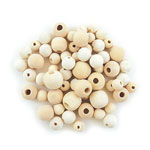 Wood Beads Round Natural - 10mm-16mm - 60pc Assorted
