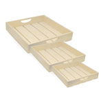 Slat Wood Trays - 3pc Set