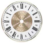 Metal Clock Dial - White & Brass - 4 1/2