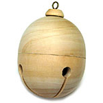 Wooden Jingle Bell Ornament - 3 1/2