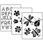 Stencil 3pc Value Pack - Flowers - 7