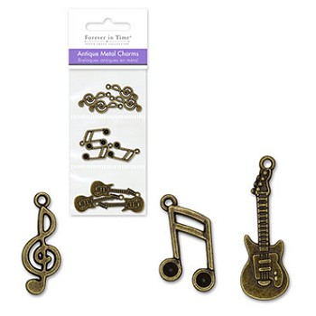Metal Charms Antique Finish - Melody 10pc