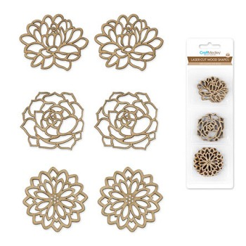 Laser-Cut Wood Shapes - Floral 6pc