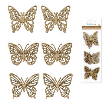 Laser-Cut Wood Shapes - Butterly 6pc