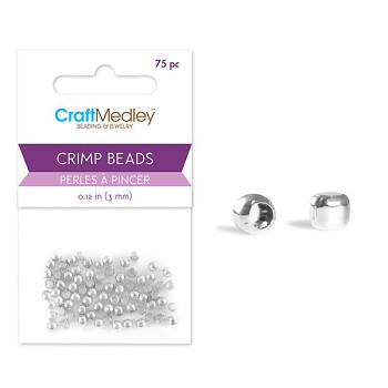 Crimp Beads - Silver - 3mm - 75pc