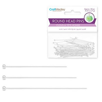 Head Pins - Round - Silver - 65pc Assorted Set
