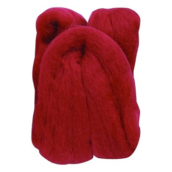 Natural Wool Roving - Red 20gr