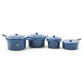 Miniature - Blue Enamelware Cookware 8pc