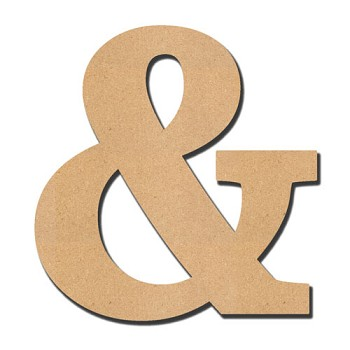 "Serif Font Ampersand Letter & - 10"" tall x 1/4"" thick"
