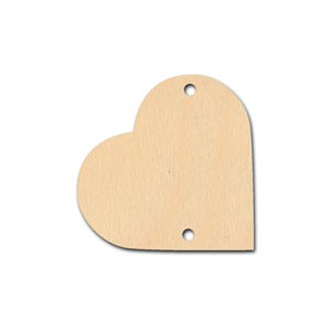 "Tile - 1 1/4"" - Heart with 2 holes"