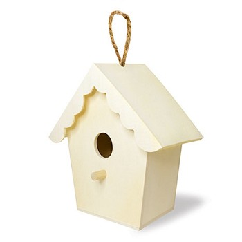 Birdhouse with Jute Hanger - 6""
