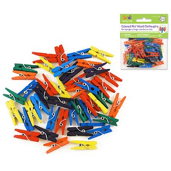 "Clothespins - 1"" Coloured - 45pc"