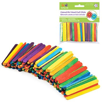 "Craft Sticks Coloured - 2 1/8"" x 1/4"" - 150pc"