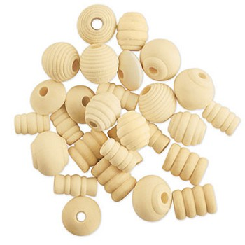 Wood Beads Fancy Natural - 28pc Assorted