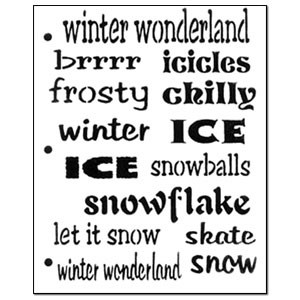 Stencil Winter Words Medium Small