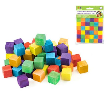 "Wooden Cubes - 5/8"" Coloured - 36pc"