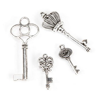 Key Charms - Silver - 4pc