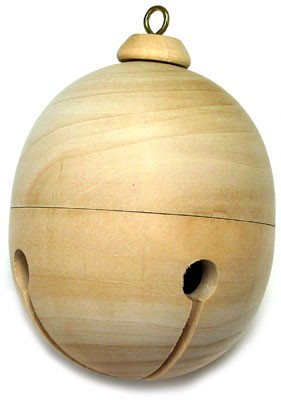 "Wooden Jingle Bell Ornament - 3 1/2"" tall"