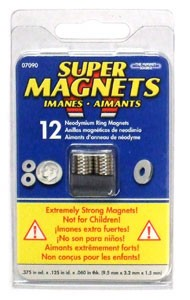 "Small Super Magnet Rings 3/8"" dia - 12pc"