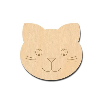 "Cat Face Etched - 2"" wide"